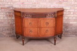 Antique French Louis Xvi Satinwood And Mahogany Demilune Dresser By Saginaw