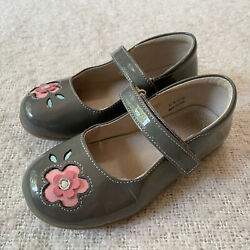 See Kai Run Mary Janes Patent Leather Girls Size 12 Grey Pink Flower Dress Shoes $14.95