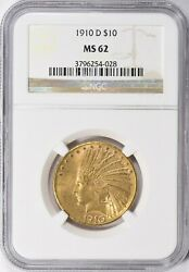 1910-d Indian Head Eagle 10 Gold Ngc Ms62