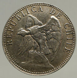 1895 Chile Condor Bird Antique Old Large Silver South American Peso Coin I93443