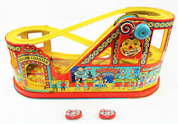 Vintage J. Chein Roller Coaster Tin Wind Up Toy - With 2 Cars And Working - Nice