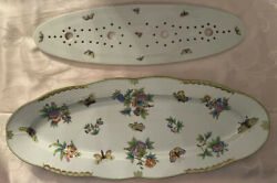 Herend Queen Victoria Vbo Large Fish Platter And Strainer Insert