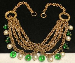 Miriam Haskell Necklace Vintage 15 Unsigned Green Glass Pearl Festoon Bib A42