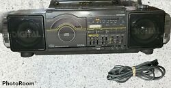 Vintage 80's Soundesign 4955mgy Portable Dual Cassette Stereo Cd Boombox Works