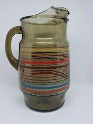Vintage Libbey Smokey Grey Glass Primary Colors Striped Pitcher Lip Handle