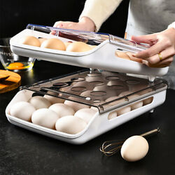 Egg Holder Auto Scrolling Down Cabinet Egg Tray Fresh Organizer Space Saver