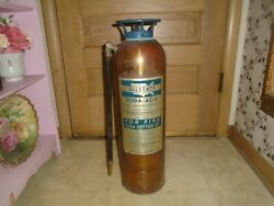 Vintage Brass Copper Fire Extinguisher Sears Roebuck Allstate Usa