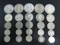 20 Pre-1964 Silver Coins And 5 Buffalo Nickels. 5.00 Face Value In All