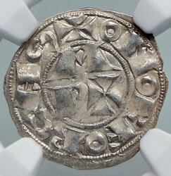 1100-1300 France Bearn Feudal In Name Of Centulle Silver Denier Coin Ngc I90714