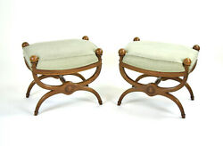 Vintage Pair Curule Form Stools Benches With Ball Finials Atop Carved Capital