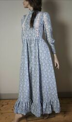 Early Very Rare Laura Ashley Crochet Griffin Print Size S M Dress 1960andrsquos