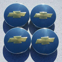 New Set 4 07-12 Chevy Oe Polished 3.25 Center Cap Gold Logo 88963139