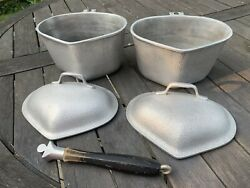 2 Vintage Century Silver Seal Hammered Cast Aluminum Triangle Heart Pots W Lids