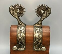 A Super Fancy Set Of Silver Engraved Spurs By Gary Wiggins