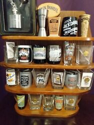 Jack Daniels Shot Glass Collection With Wooden Display 2006