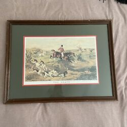 """Authentic Fox Hunt Lithograph """"the Death"""" Painting By William Shayer Framed"""