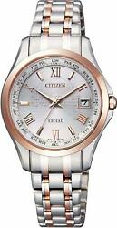 Exceed Citizen Watch Exed Eco Drive Radio Clock Pair Model Ec1124-58a Silver