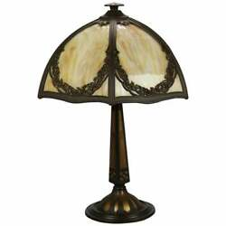 Antique Bradley And Hubbard Arts And Crafts Slag Glass Table Lamp Circa 1920