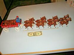 Budweiser Cast Iron Beer Wagon And Clydesdale 8 Horses, 23 Kegs, Dog, 2 Drivers