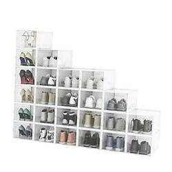 Pack Shoe Storage Boxes, Clear Plastic Stackable Shoe Organizer Bins, Large 24