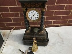 French Portico Clock For Restoration