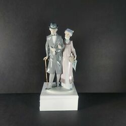Rare Vintage Lladro 5677 Twilight Years Man And Woman Couple 10 3/4 Tall
