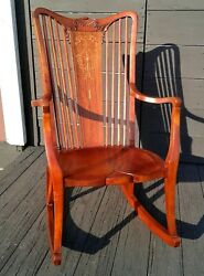 Antique Mahogany Rocking Chair Mother Of Pearl And Satinwood Inlays