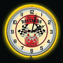 19 Mean Old Bastards Hot Rods Motorcycles Sign Yellow Double Neon Clock