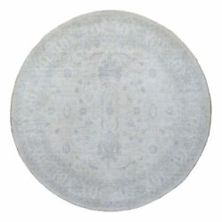10and039x10and039 White Wash Peshawar Pure Wool Hand Knotted Ivory Round Rug G68458