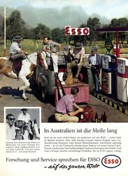 Esso Gasoline Australia 1963 Ad Outback Pick Up Gas Station Advertising Rifle +