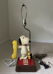 Snoopy And Woodstock Telephone Lamp Combo Peanuts Touchtone Phone From The 70s
