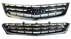 For 2014-2020 Chevrolet Impala Front Upper And Lower Grille Set Chrome Black Lt2pc