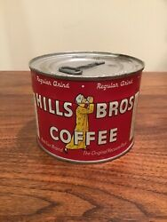 1950s Hills Brothers Coffee Graphic Tin Can 1/2 Pound Never Open