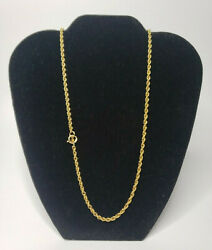 14k Solid Yellow Gold 24 Loose Rope Chain 3mm Wide Gold Weight .40 Oz Troy