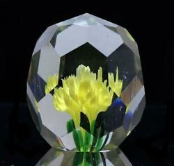Used Old Baccarat Paper Weight Diamond Cut 41 Facets Bouquet Yellow Very Rare