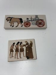 Vintage 1994 The Cats Meow Assorted Wooden Blocks Set Of 2 Collectibles