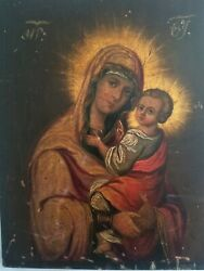 Antique Oil Painting Religious Icon Mary And Jesus Signed On Wood Mother Of God