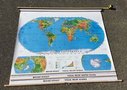 Vintage 70s 3 Maps Rand Mcnally Visual Relief Us And World Pull Down Roller Wall