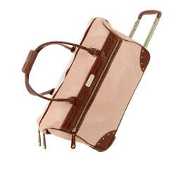 New Samantha Brown Rolling Embossed Wheeled Weekender Classic Nude Color