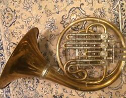 Vintage Hans Heuer Gold Brass Basingle French Horn Before East-west Unification