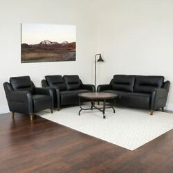 Newton Hill Upholstered Bustle Back Chair Loveseat And Sofa Set In Black Leathers