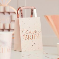 Blush Hen Team Bride Hen Party Bags Pink Spotty amp; Rose Gold Bags Pack of 5 GBP 6.95