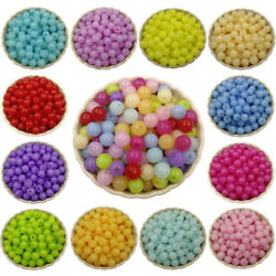 100pcs 8mm Acrylic Loose Beads Diy Beading Jelly Color Round Fashion Jewelry