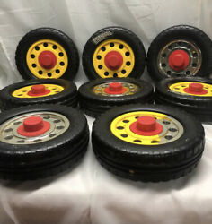 Lot Of 8 Authentic Playskool Pipeworks Tires Wheels Replacement Vintage Parts