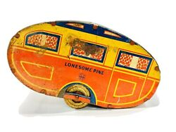 1940's Marx Lonesome Pine Travel Trailer Camper Vintage Tin Toy Pull Behind