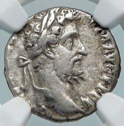 Commodus The Gladiator Emperor Old Ancient Silver Roman Coin Pietas Ngc I89490