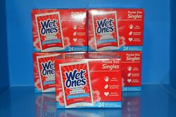 Lot Of 5 Wet Ones Wipes Fresh Scent Hand Wipes 24 Singles Each Exp. 12/2022