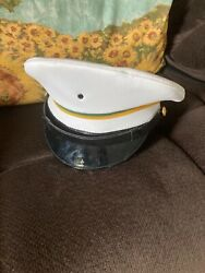 Vintage 1989 Us Army Military Police Service Dress Class 1 White Hat Cap 7 1/4