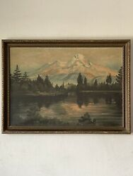 19th Century Antique Plein Air Landscape Oil Painting Old Mountain Lake Forest
