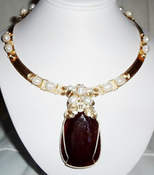 Ruby Necklace Certified 325ct Natural Ruby Gemstone, Pearls, Crystals